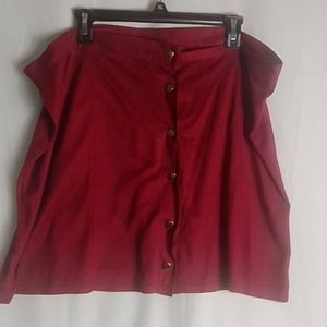 Burgundy skirt with gold buttons